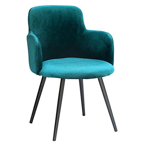 Silla de Comedor de Arte de Hierro nórdico, sillón de Terciopelo con Patas de Metal Negro/Respaldo Ancho, (Verde) | Código de Productos: LJW-264