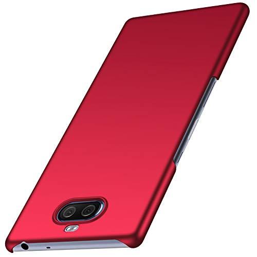 Kqimi Hülle für Sony Xperia 10 Plus Superdünne Leichte Matte Handyhülle Einfache Stoßfeste Kratzfeste Ganzkörper Hülle kompatibel mit Sony Xperia 10 Plus (Glattes Rot)