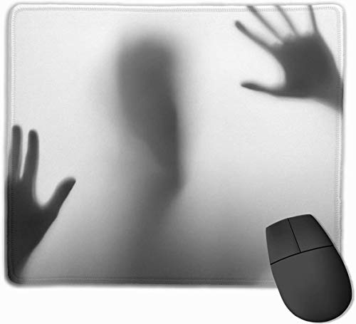 Whecom Gaming Mauspad Schwarz, Horrible Silhouette in The Bathroom Funny Mouse Pad with Stitched Edge Mouse Mat Non-Slip Rubber Base Office Mousepad for Laptop, Computer & PC, Mouse Pads