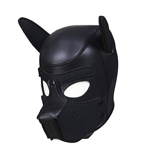 Greymond Neoprene Puppy Hood Dog Head Mask Novelty Cosplay Costume Full Face Animal Head Mask with Removable Mouth Black