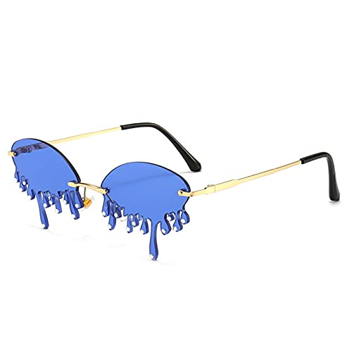 WOJING Diamante Gafas de sol de las mujeres Vintage Único Lágrimas Forma Punk Gafas de sol sin montura Cristal Gafas Mujer UV400