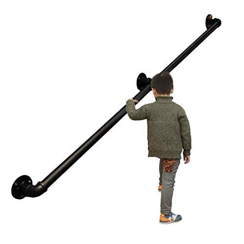 AFDK Treppen Schwarz verzinktes Rohr Geländer, Stahl Sicherheitstreppengeländer mit Wandmontage, Industrieschmiedeeisen Treppengeländer Halterung für Innen- und Außen Treppen Veranda Reling,60cm