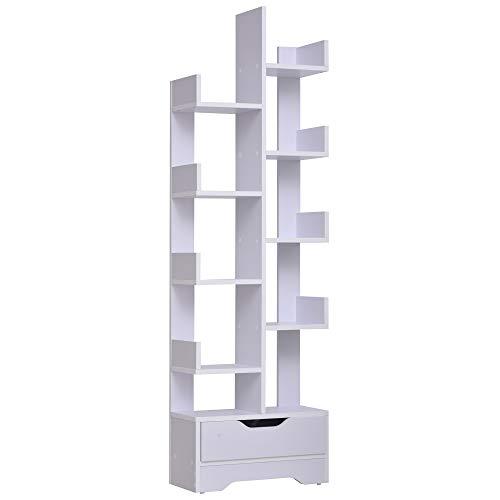 HOMCOM Bibliothèque Étagère de Rangement avec 10 Compartiments Ouverts et Tiroir Design Unique Moderne Idéale pour Salon Chambre Bureau 46 x 20 x 151 cm Blanc