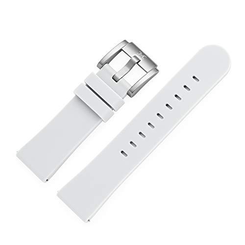 TW Steel Marc Coblen - Correa para reloj de pulsera (silicona, 22 mm, con cierre de acero), Blanco, Correas.