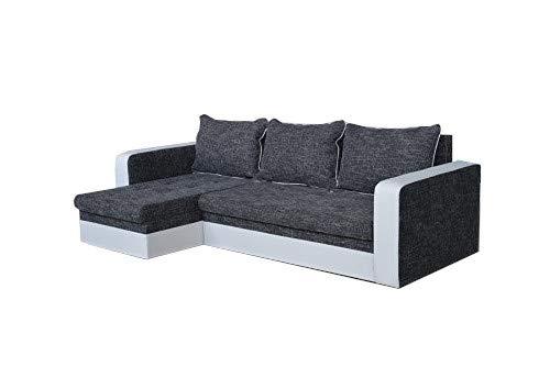 mb-moebel Kleines Ecksofa Eckcouch mit Bettkästen mit Schlaffunktion Couch Wohnlandschaft L-Form Polsterecke Drogo (Ecksofa Links)