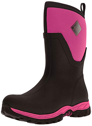 Muck Boot Arctic Sport II Extreme Conditions Mid-Height Rubber Women's Winter Boot, Black/Pink, 9 M US