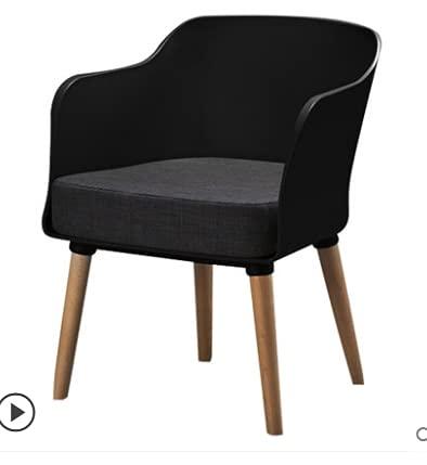 MZXUN Silla de Comedor nórdico Moderno Ocio Creativo plástico diseñador sillón Moderno Minimalista Silla Respaldo Solo hogar Comedor sillas (Color : Black)