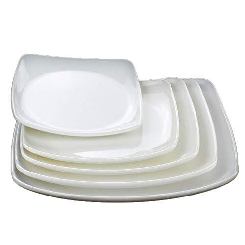 UPKOCH Juego de bandejas blancas lisas de 5 piezas plato cuadrado vajilla de melamina