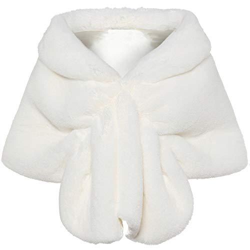 Coucoland Kunst Pelz Schal Damen Flauschig Faux Pelz Umschlagtuch Warm Kragen für Wintermantel 1920s Accessoires Gatsby Kostüm Zubehör (Weiß, L)