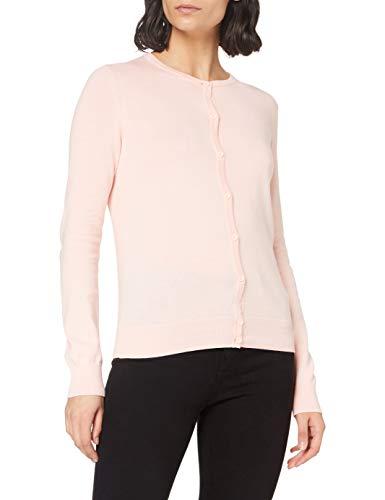 Amazon Brand - MERAKI Women's Lightweight Cotton Crew Neck Cardigan, Pink (Pale Pink), 12, Label:M