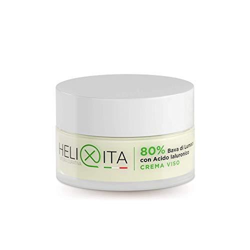 HELIXITA Crema Viso 80% Bava di Lumaca e Acido Ialuronico a doppio peso molecolare. Efficace Antimacchia, Antietà e Antirughe. Idratante Naturale con analisi di Laboratorio incluse, 50ml