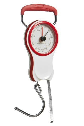 Premier Housewares Mechanical Luggage Scale with Tape Measure - Red/ White