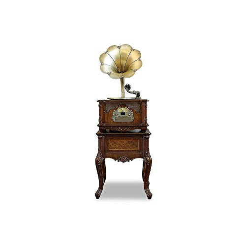 WSMLA Bronze Vintage Classic Retro Antique Phonograph Gramophone Turntable Vinyl Record Player Stereo Speakers Home Decoration System Control (Color : Brown, Size : 52.543157CM)