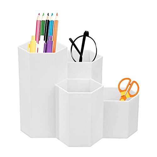 Portalápices hexagonal,Portalápices hexagonal de plástico,Portalápices hexagonal creativo,Portalápices de plástico para almacenamiento,Soporte para Bolígrafo de Escritorio,Organizador de Pluma(blanco)