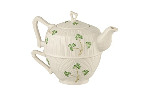 Belleek Pottery Harp Shamrock Tea for One, Green/White