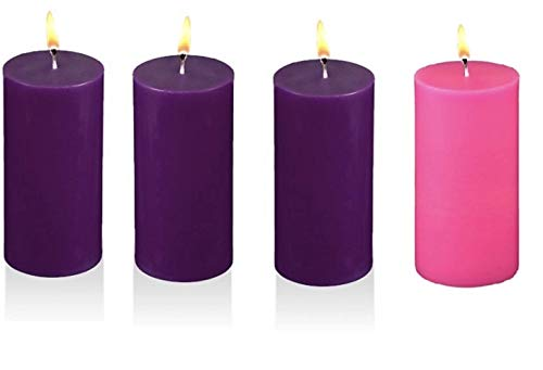 MIster Candle - Advent Pillar Candles - Hand Made, Solid Color, 3 Purple 1 Pink - (3' x 6')