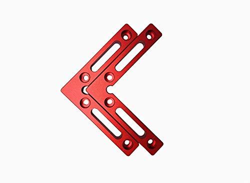 Fladess 90-Grad-Positionierungswinkel, Aluminiumlegierung, rechtwinklige Klemmen, Holzbearbeitung, Tischler, auch für Bilderrahmen, Kisten, Schubladen, L (2 Stück) (rot)