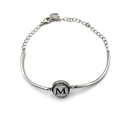 Halfvaste armband met initialen (M) (12 mm) (sieraden).