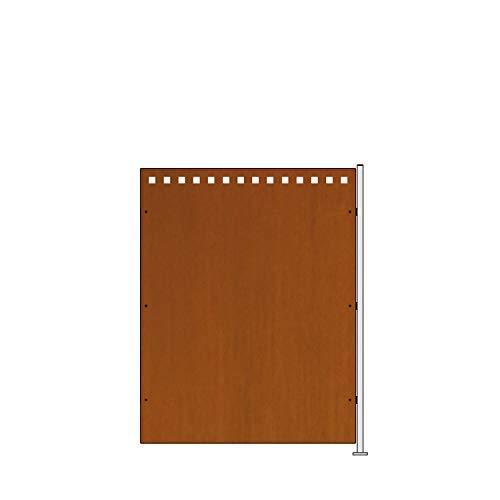 bellissa Corten-Sichtschutz QUADRO - 98241 - Anbau-Set aus Cortenstahl - Anbausatz mit Pfosten und Befestigung - 74,4 x 95 cm