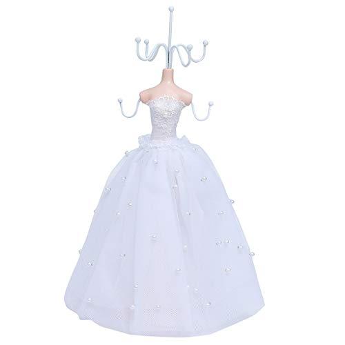 kowaku Maniquí Vestido Blanco Señora Soporte de Exhibición de Joyas Soporte de Collar Estante