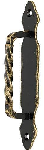 KOTARBAU - Tirador de puerta de hierro forjado de 190 mm, color negro y dorado