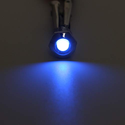 Luz de búsqueda marina, Indicador luminoso de advertencia de 10 mm Luz Panel del proyecto piloto del tablero de instrumentos del coche del carro del barco Metal - Rojo (Color : Blue)