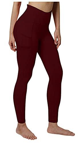 QPQ Leggings deportivos para mujer, cintura alta, pantalones de yoga, pantalones de deporte, leggings, pantalones de fitness con bolsillos borgoña M