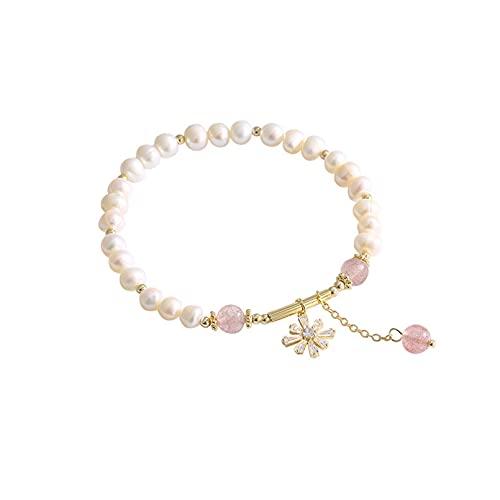 N/A Pulsera de Perlas Retro Pulsera de Estrella de Ocho Puntas Salvaje Femenina Pulsera de Cristal de Fresa sentidoAniversario Día de la Boda Navidad Día de la Madre Regalo de cumpleaños.