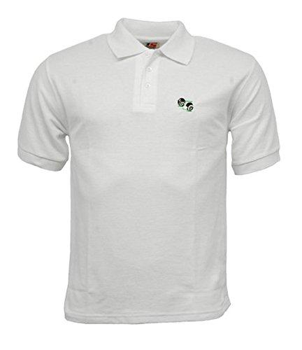 Sh! Neuf Unisexe/Homme/Femme/Femme/pelouse de Bowling Evon, Bols, Blanc Poly/Coton, Polo, Chemise, avec Logo 3 Boutons Patte, Autocollant avec Boutons