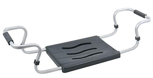 Sedile per vasca da bagno, estensibile, portata 150 kg, in alluminio, plastica, 55-70 x 18 x 26 cm, antracite