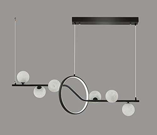 OURLOVEII 18W Modernas LED Regulable Iluminación Colgante Mesa De Comedor Luces Colgante Metal Lineal Comedor Sala de Estar Colgante de luz Altura Ajustable 150CM Esférico PLA Pantalla,Negro,B