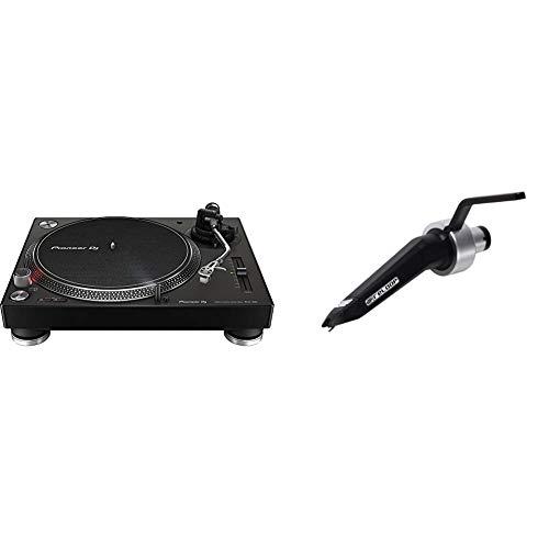 Pioneer DJ PLX-500-K DJ-Plattenspieler mit Direktantrieb, Schwarz & Reloop Concorde Black – Sphärisch geschliffenes Tonabnehmersystem mit robuster Konstruktion für Plattenspieler (schwarz)