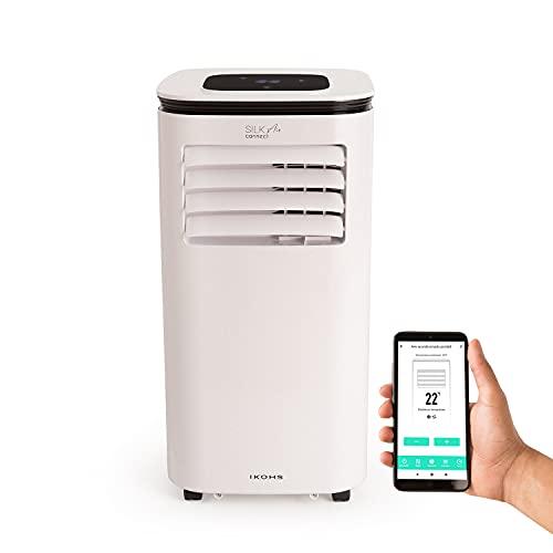 IKOHS Silkair Connect - Condizionatore portatile 9000BTU, 2270 frigorie, 3 funzioni, deumidificatore fino a 24 l/giorno, telecomando, molto silenzioso, filtro lavabile, WiFi bianco