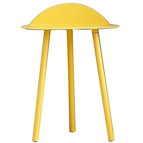 B-CD Iron Art Mini Table D'Appoint Simple Canapé d'angle Simple Petite Table Basse Économique, Jaune-74cm