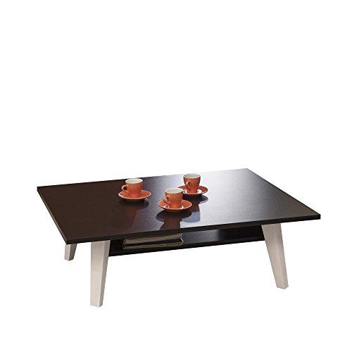 TemaHome Table Basse Range Revues Pieds Inclines, Autre, Blanc/Noir, 89 x 67 x 28,2 cm