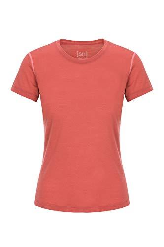 super.natural Dünnes Damen Kurzarm T-Shirt, Mit Merinowolle, W BASE TEE 140, Hellrot/Rosa, M