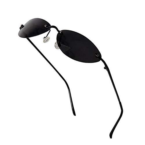 JXZPL Sonnenbrille Mode Cool The Matrix Neo-Stil Polarisierte Sonnenbrille Männer Slim Randlose Sonnenbrille (Frame Color : Schwarz)