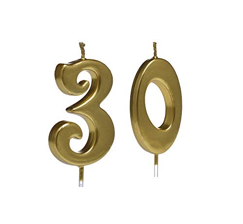 Bailym Gold 30th Birthday Candles,Number 30 Cake Topper for Party Decoration