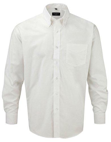 Russell Collection - Chemise Oxford à longues manches et facile d'entretien - Pour hommes - Blanc - XXXX-Large