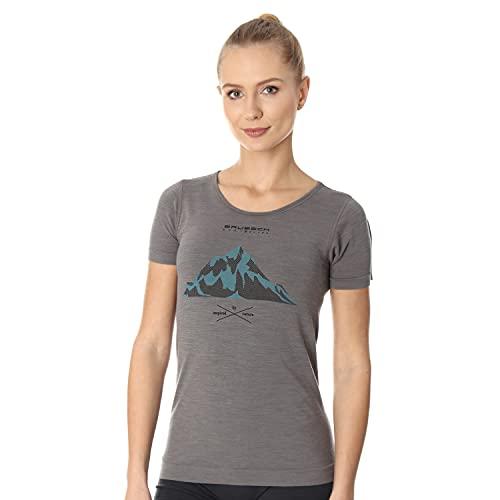 BRUBECK Damen Kurzarm Funktionsshirt | Atmungsaktiv | Thermo | Sport | Outdoor | Fitness | Unterhemd | T-Shirt | 27% Merino-Wolle | SS12720A Gr. M Grau - Berge