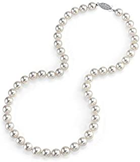 14K Gold 7.0-7.5mm Round Genuine White Japanese Akoya Saltwater Cultured Pearl Necklace in 20