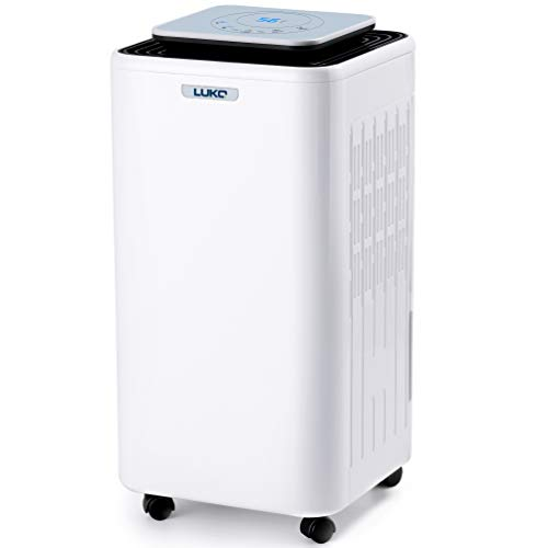 LUKO 3000 SQ Ft Purifi er Dehumidifier for Basement Removes Home Moisture Quiet Dehumidifiers for Bedroom Keep Humidity Reaches to 20% for Dry Clothes Auto Defrost with 2L Water Tank and Drain Hose
