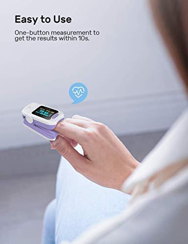 31WXKNwnilL - CocoBear Pulsioxímetro,Pulsioximetro de Dedo,Lectura Instantánea oxímetro, Medición de la saturación de oxígeno, Ajuste silencioso, Alarma, 4 direcciones de rotación(Morado) (Pack 1)