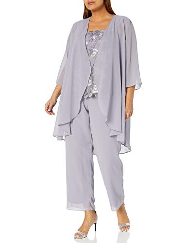 Le Bos Women's Embroidered LACE Scallop Trim Duster Pant Set, Dusty Lavender, 18