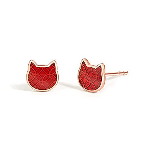 Orecchini in Argento Sterling S925 in Oro Rosa con Gatto, Accessori per Gatti Carini per Ragazze