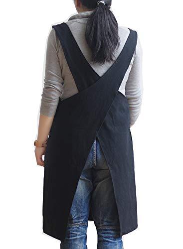 Schürze aus weichem Baumwollleinen, einfarbig, überkreuzte Träger im Rücken, japanischen Stil in X-Form, für Küche, Kochen, Koch, Geschenk für Hausfrauen, zur Einweihungsparty Schwarz