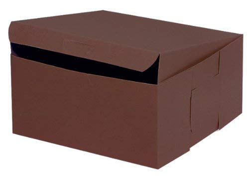 """Pack Of 10, 10 X 10 X 5"""" Chocolate Bakery Boxes 1-Piece Lock Corner Box For Cakes, Pies, Cupcakes Made In USA"""