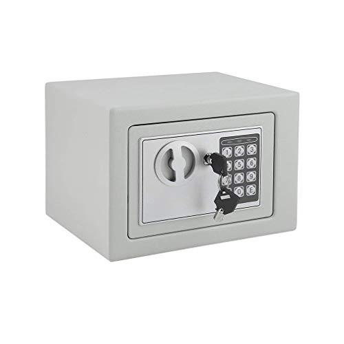 Caja Fuerte Electrónica, Caja Fuerte Con Código Digital y Bloqueo Agujero, 230×170×170 mm(Pequeño), Se Puede Instalar Suelo Pared Gabinete, Doméstico y Comercial (Blanco)