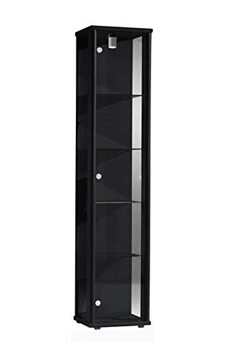 K-Möbel Glasvitrine in Schwarz (176x37x33 cm) mit 4 höhenverstellbaren Glasböden aus ESG; beleuchet; perfekt für Sammler;