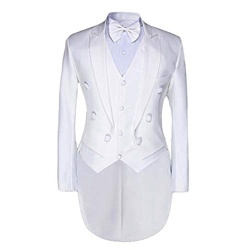 Cloudstyle Men's Luxury Casual Stylish Dress Suit Slim Fit Blazer Coats Jackets  and  Vest  and  Trousers Medium White